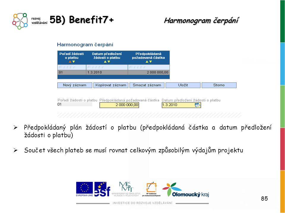 5B) Benefit7+ Harmonogram čerpání
