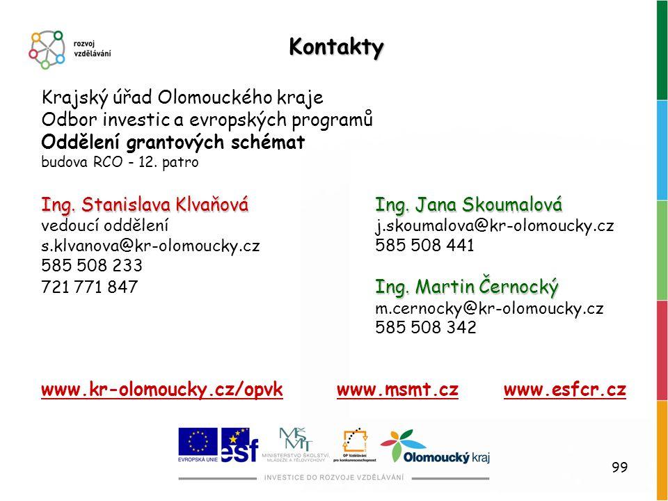 Kontakty Krajský úřad Olomouckého kraje