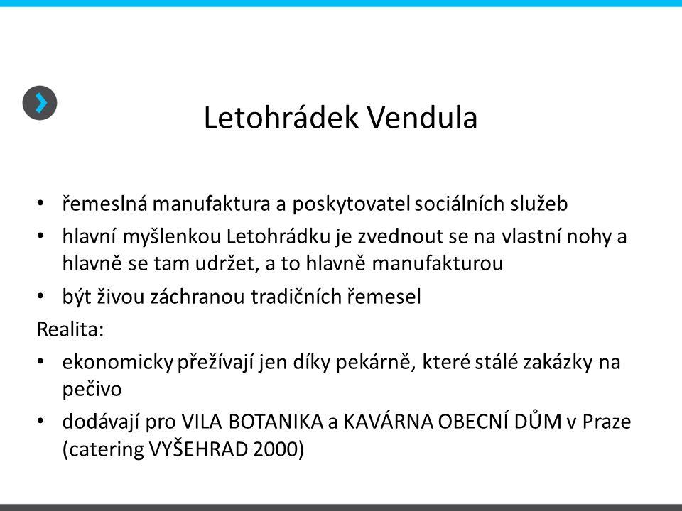 Letohrádek Vendula řemeslná manufaktura a poskytovatel sociálních služeb.