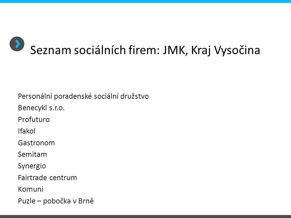 Seznam sociálních firem: JMK, Kraj Vysočina