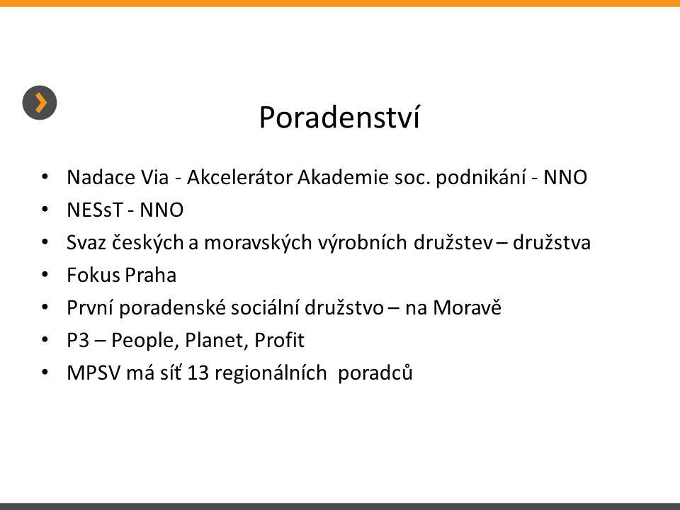 Poradenství Nadace Via - Akcelerátor Akademie soc. podnikání - NNO