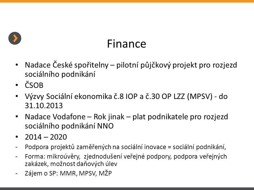 Finance Nadace České spořitelny – pilotní půjčkový projekt pro rozjezd sociálního podnikání. ČSOB.