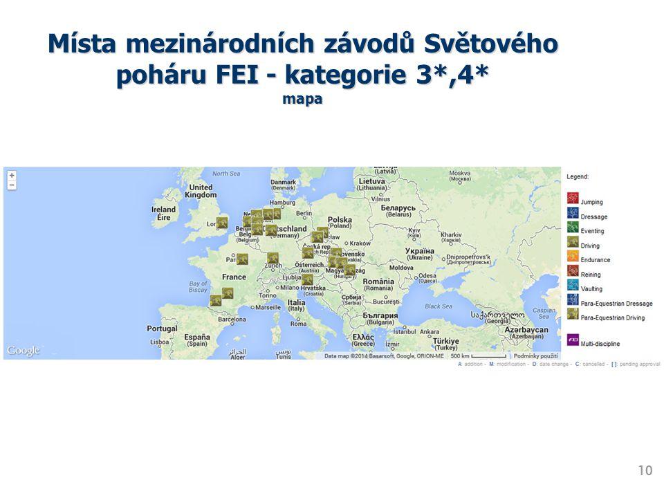 Místa mezinárodních závodů Světového poháru FEI - kategorie 3*,4* mapa