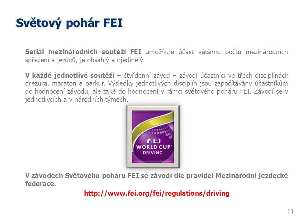 Světový pohár FEI Seriál mezinárodních soutěží FEI umožňuje účast většímu počtu mezinárodních spřežení a jezdců, je obsáhlý a ojedinělý.
