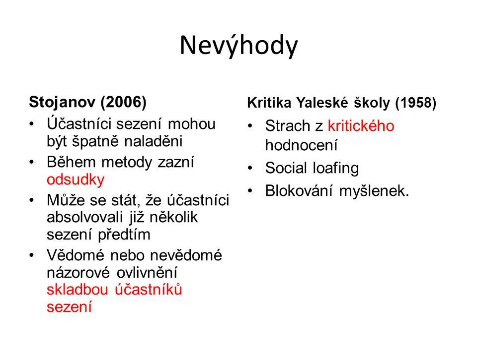Nevýhody Stojanov (2006) Účastníci sezení mohou být špatně naladěni