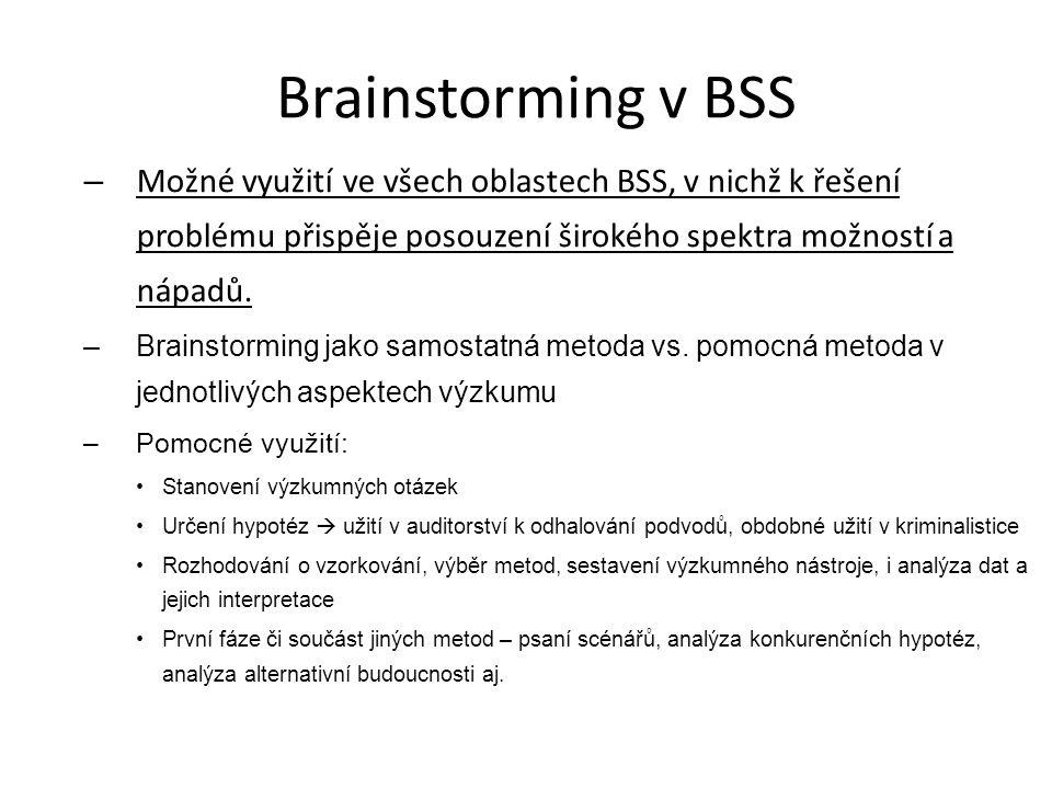 Brainstorming v BSS Možné využití ve všech oblastech BSS, v nichž k řešení problému přispěje posouzení širokého spektra možností a nápadů.
