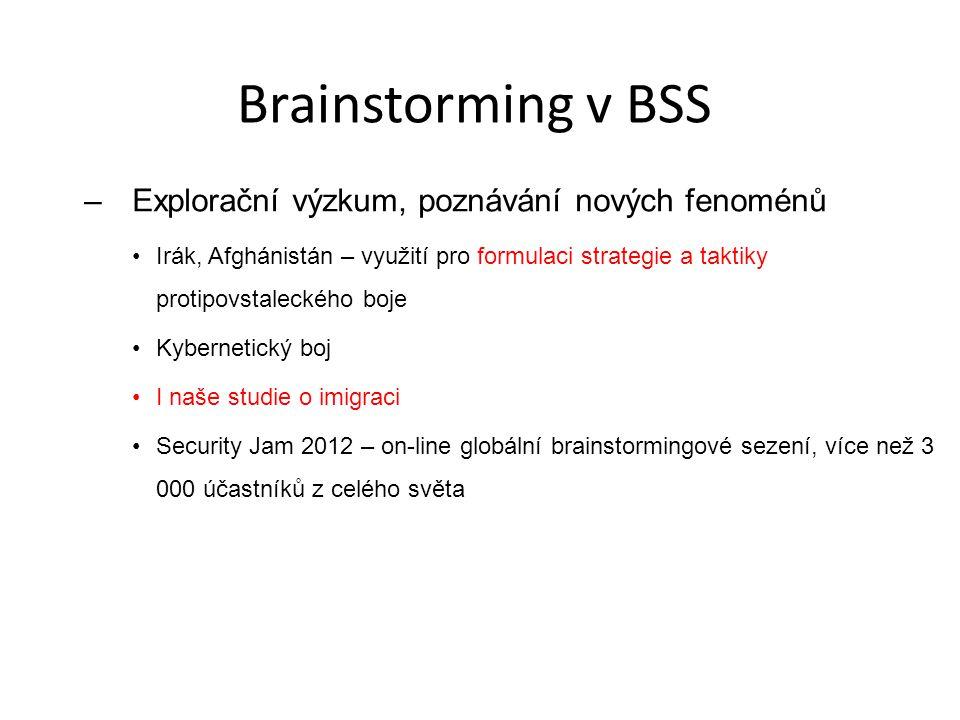 Brainstorming v BSS Explorační výzkum, poznávání nových fenoménů