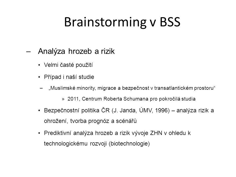 Brainstorming v BSS Analýza hrozeb a rizik Velmi časté použití