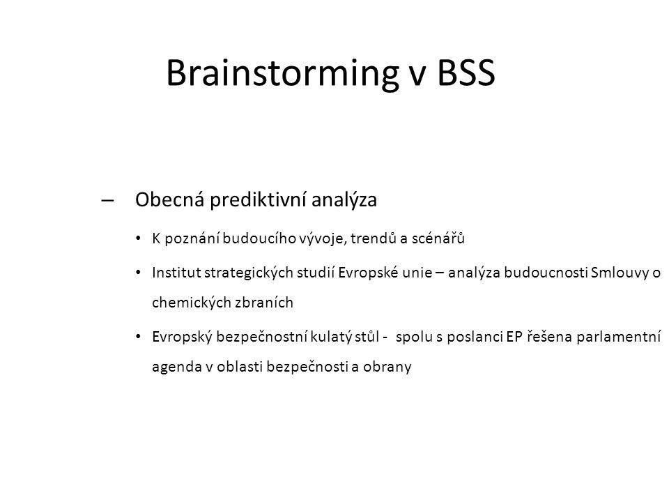 Brainstorming v BSS Obecná prediktivní analýza