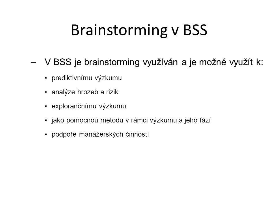 Brainstorming v BSS V BSS je brainstorming využíván a je možné využít k: prediktivnímu výzkumu. analýze hrozeb a rizik.