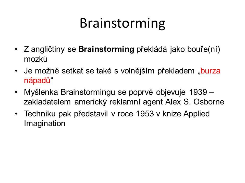 """Brainstorming Z angličtiny se Brainstorming překládá jako bouře(ní) mozků. Je možné setkat se také s volnějším překladem """"burza nápadů"""