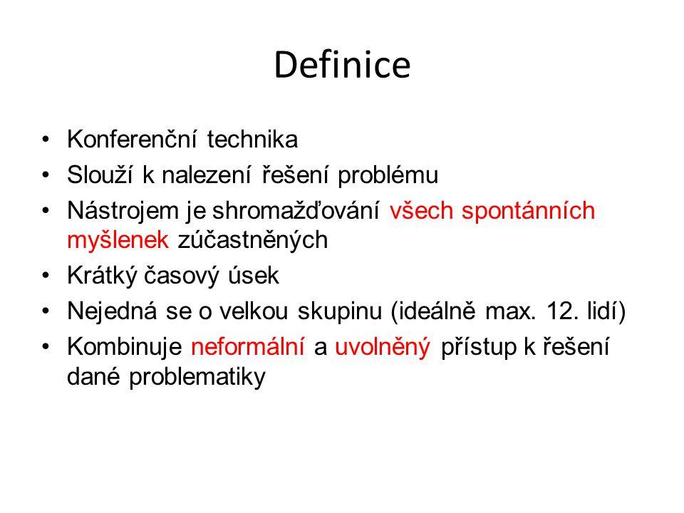 Definice Konferenční technika Slouží k nalezení řešení problému
