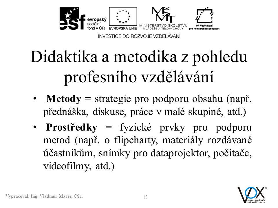 Didaktika a metodika z pohledu profesního vzdělávání