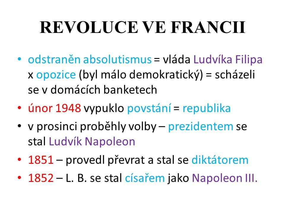 REVOLUCE VE FRANCII odstraněn absolutismus = vláda Ludvíka Filipa x opozice (byl málo demokratický) = scházeli se v domácích banketech.