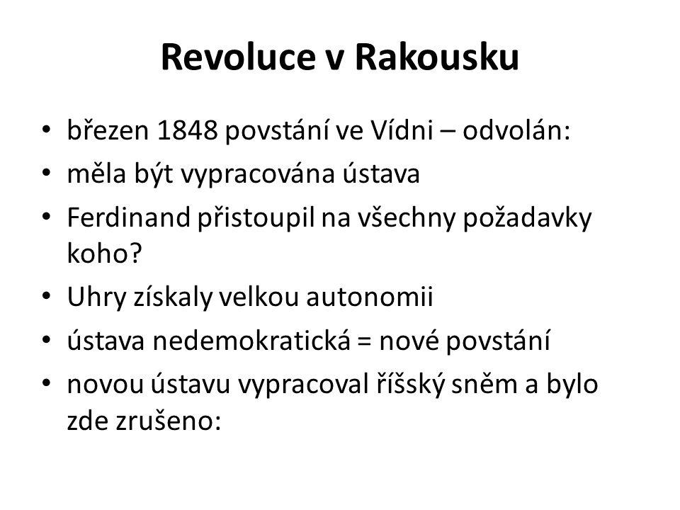 Revoluce v Rakousku březen 1848 povstání ve Vídni – odvolán: