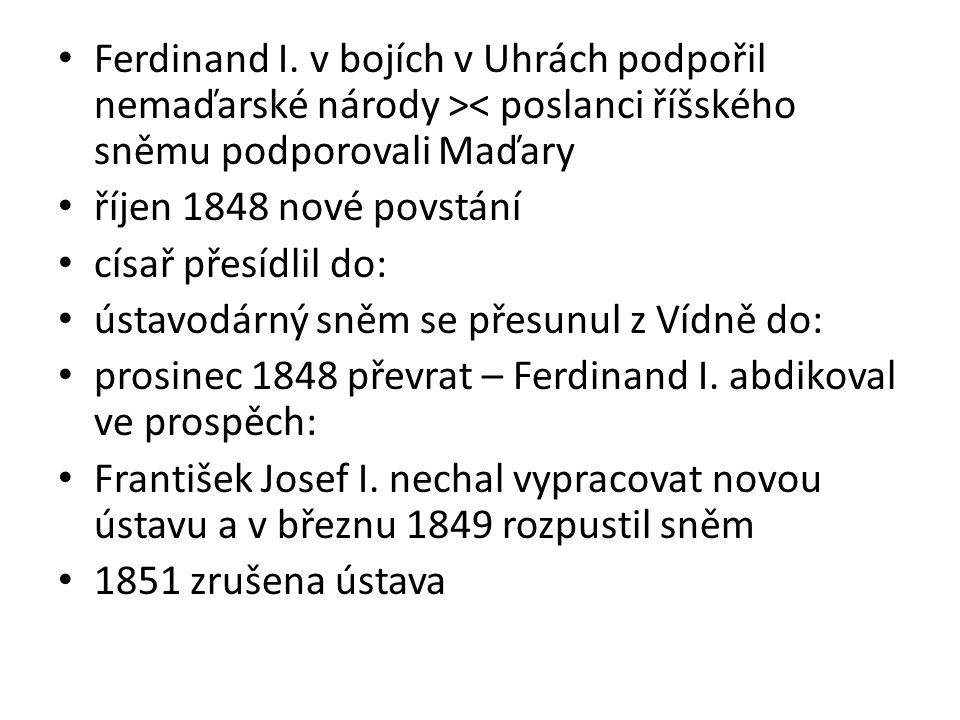 Ferdinand I. v bojích v Uhrách podpořil nemaďarské národy >< poslanci říšského sněmu podporovali Maďary