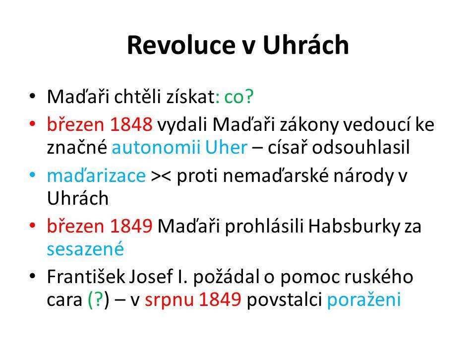 Revoluce v Uhrách Maďaři chtěli získat: co