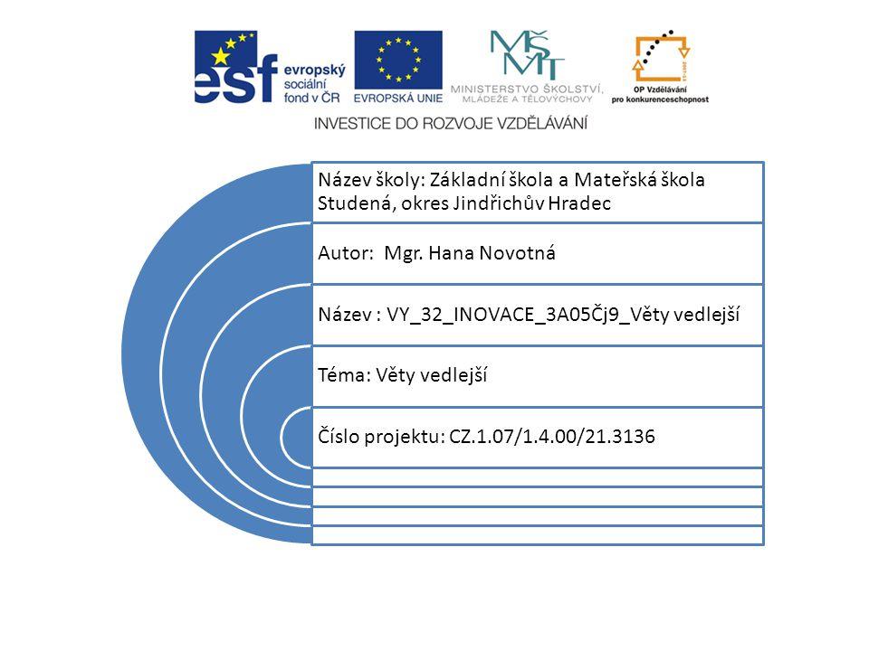 Název školy: Základní škola a Mateřská škola Studená, okres Jindřichův Hradec