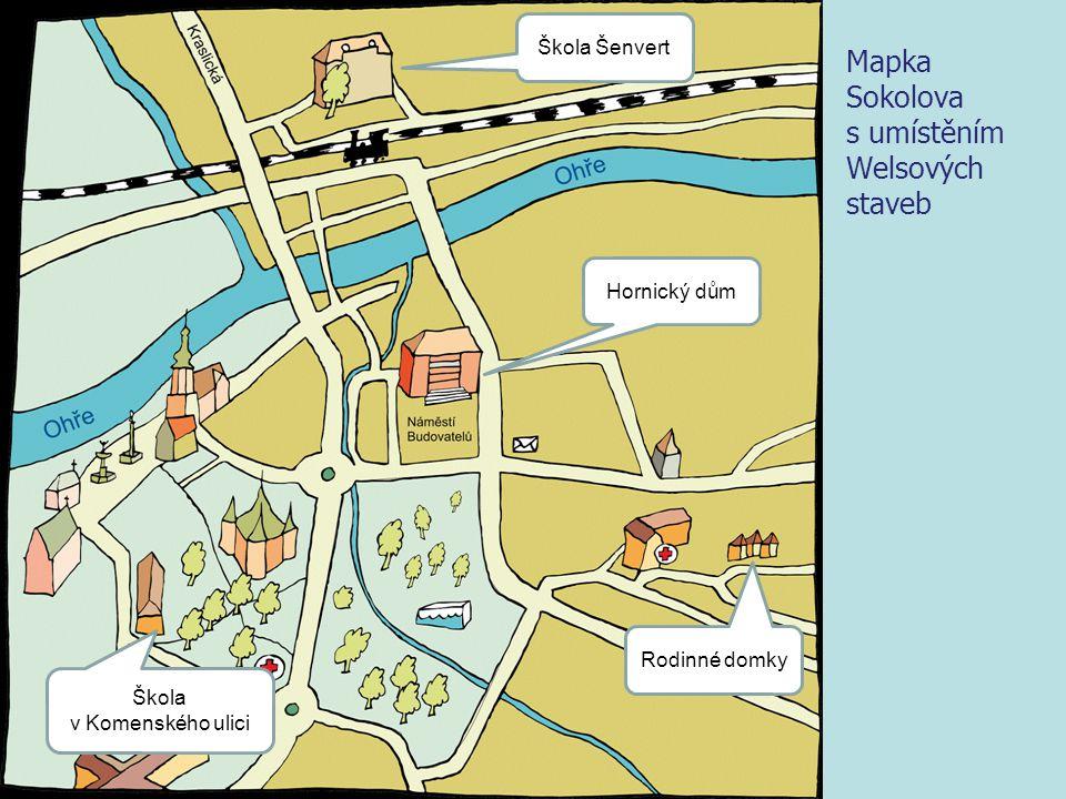 Mapka Sokolova s umístěním Welsových staveb