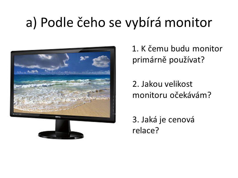 a) Podle čeho se vybírá monitor