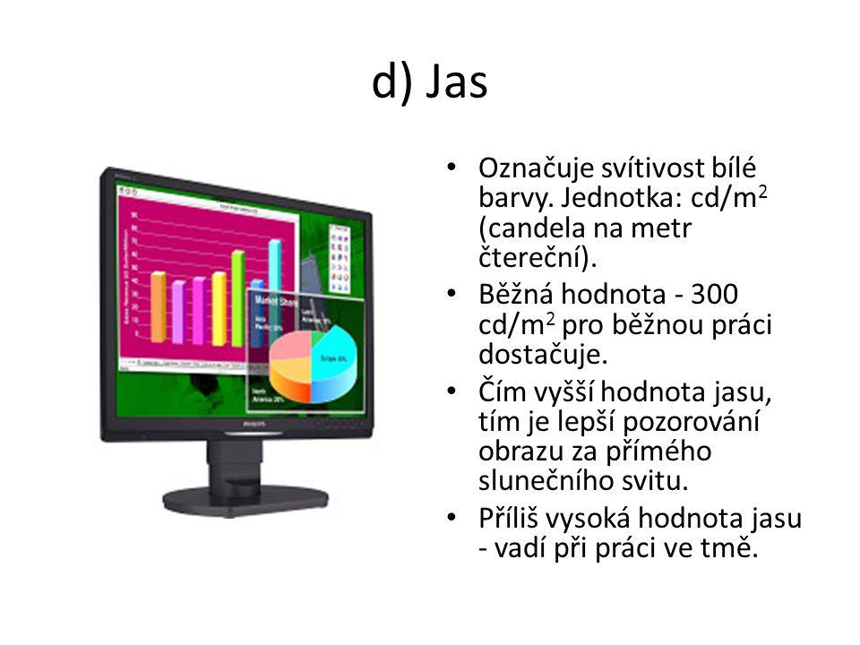 d) Jas Označuje svítivost bílé barvy. Jednotka: cd/m2 (candela na metr čtereční). Běžná hodnota - 300 cd/m2 pro běžnou práci dostačuje.