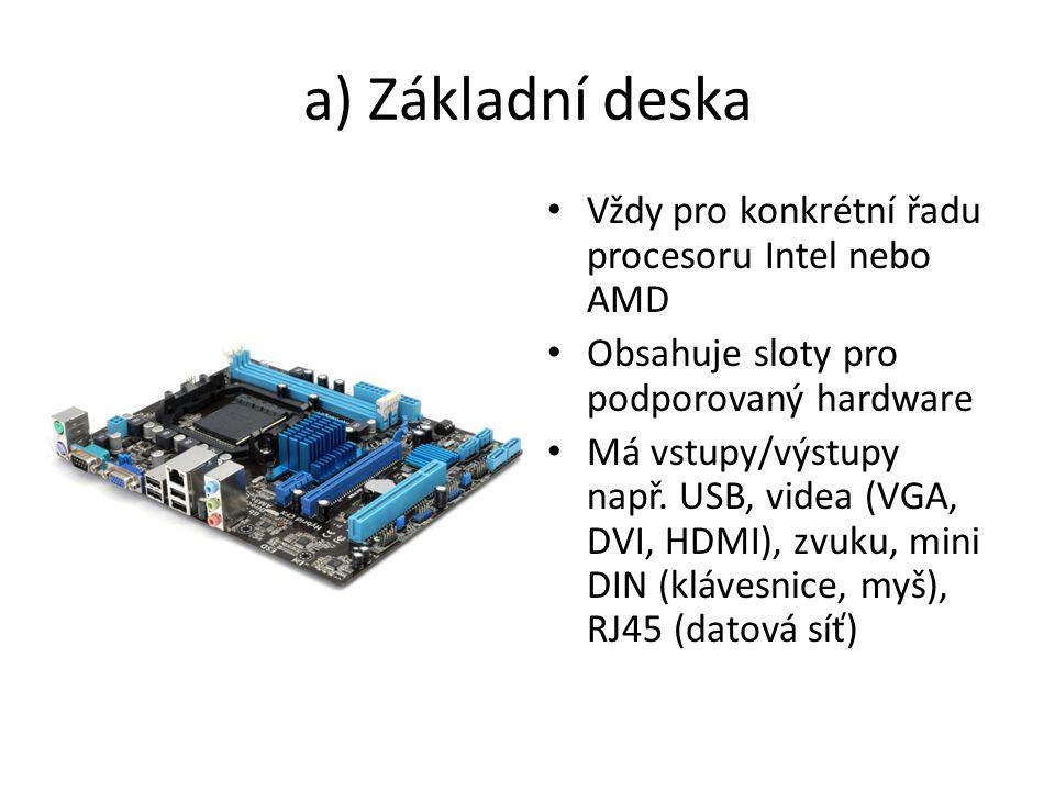 a) Základní deska Vždy pro konkrétní řadu procesoru Intel nebo AMD