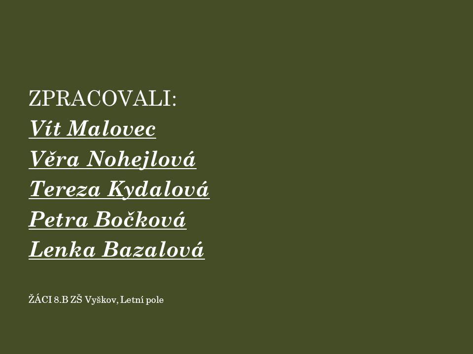 ZPRACOVALI: Vít Malovec Věra Nohejlová Tereza Kydalová Petra Bočková