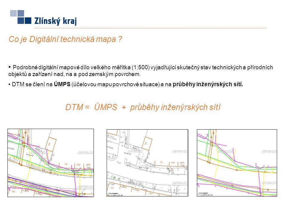 DTM = ÚMPS + průběhy inženýrských sítí
