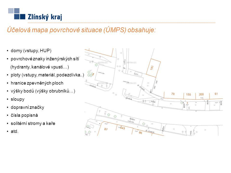 Účelová mapa povrchové situace (ÚMPS) obsahuje: