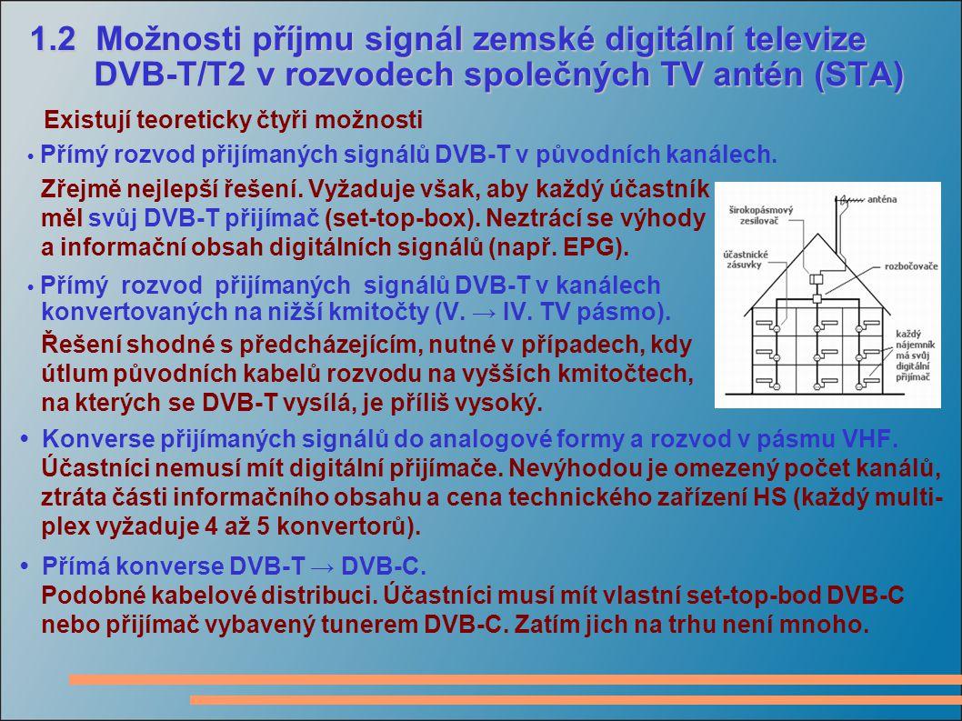 1.2 Možnosti příjmu signál zemské digitální televize