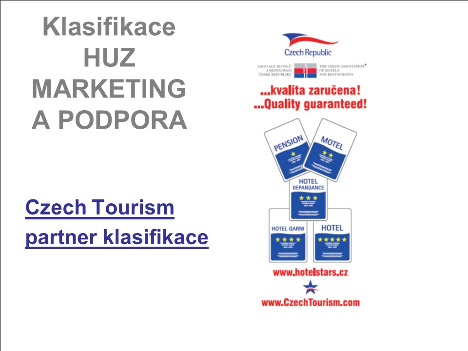 Klasifikace HUZ MARKETING A PODPORA