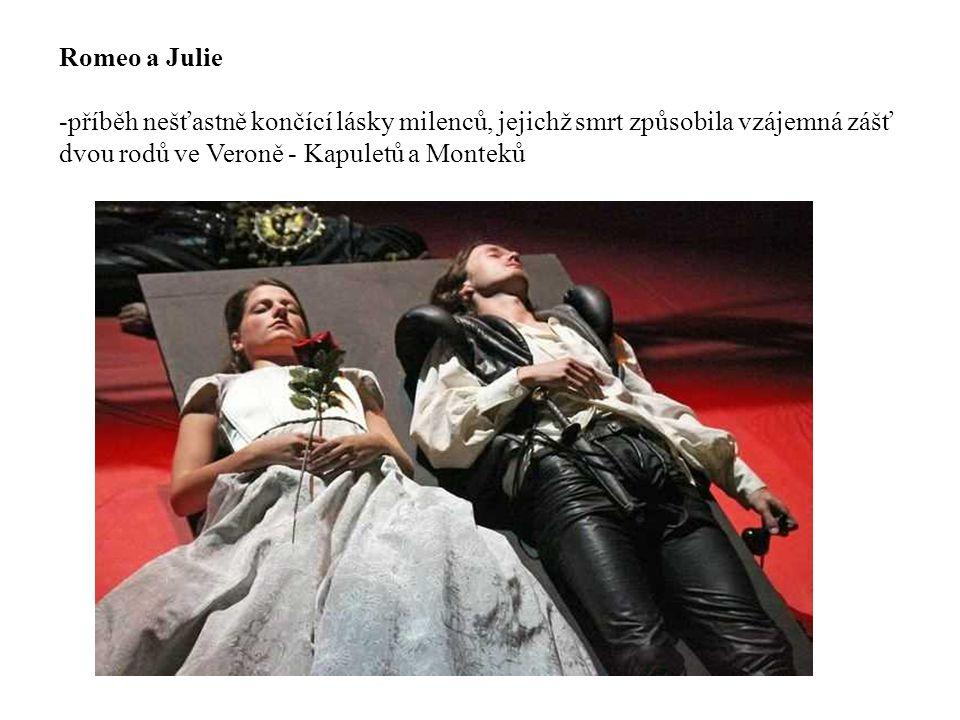 Romeo a Julie příběh nešťastně končící lásky milenců, jejichž smrt způsobila vzájemná zášť dvou rodů ve Veroně - Kapuletů a Monteků.