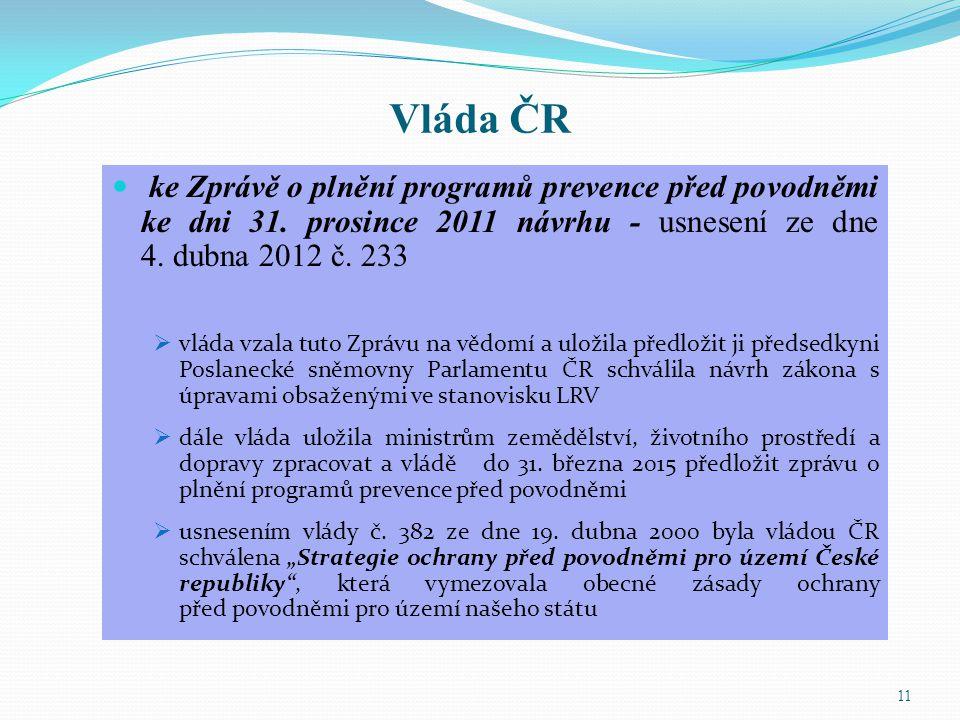 Vláda ČR ke Zprávě o plnění programů prevence před povodněmi ke dni 31. prosince 2011 návrhu - usnesení ze dne 4. dubna 2012 č. 233.