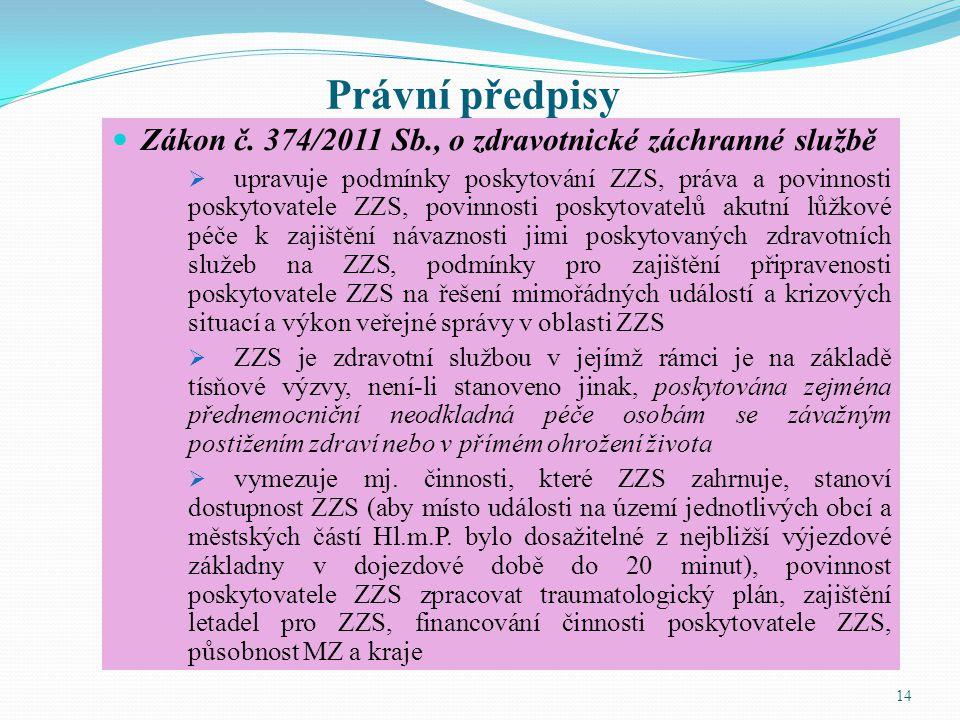 Právní předpisy Zákon č. 374/2011 Sb., o zdravotnické záchranné službě