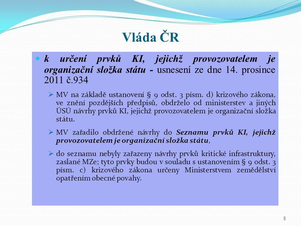 Vláda ČR k určení prvků KI, jejichž provozovatelem je organizační složka státu - usnesení ze dne 14. prosince 2011 č.934.