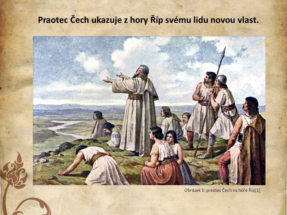Praotec Čech ukazuje z hory Říp svému lidu novou vlast.