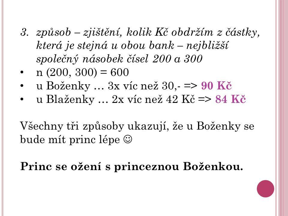 3. způsob – zjištění, kolik Kč obdržím z částky, která je stejná u obou bank – nejbližší společný násobek čísel 200 a 300