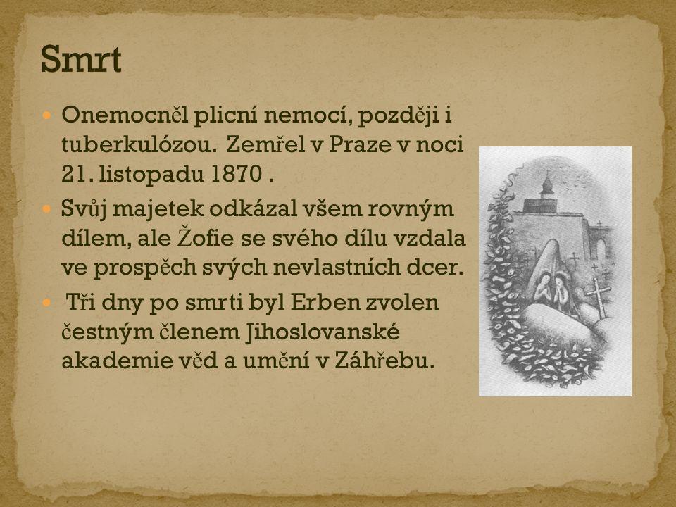 Smrt Onemocněl plicní nemocí, později i tuberkulózou. Zemřel v Praze v noci 21. listopadu 1870 .
