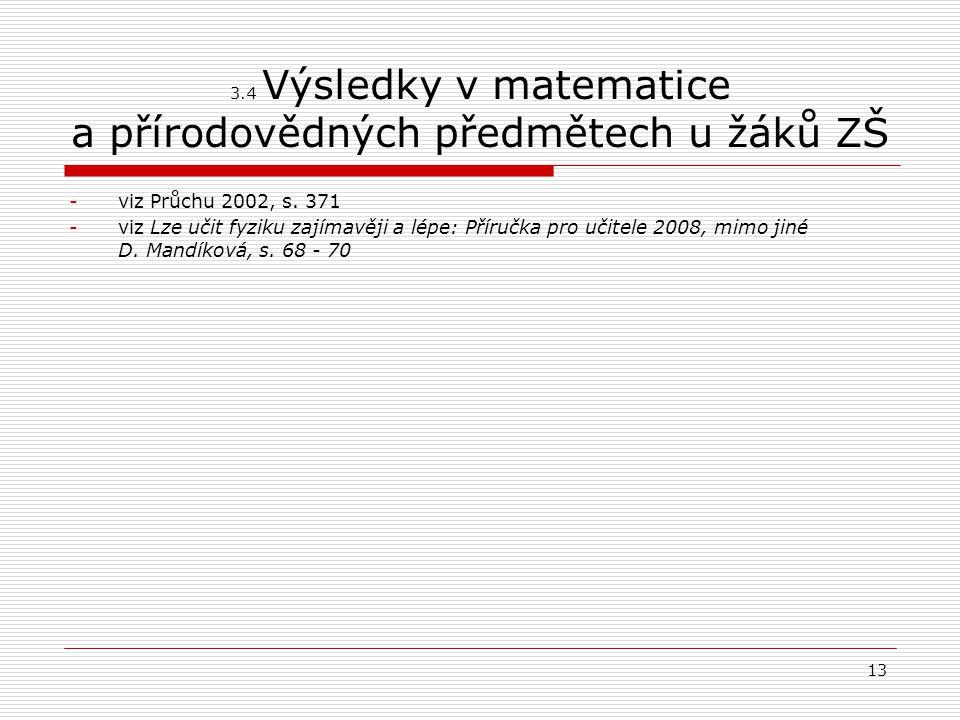 3.4 Výsledky v matematice a přírodovědných předmětech u žáků ZŠ