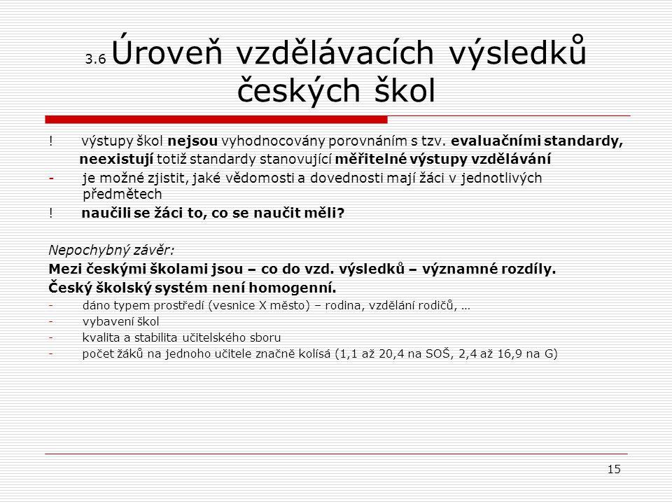 3.6 Úroveň vzdělávacích výsledků českých škol