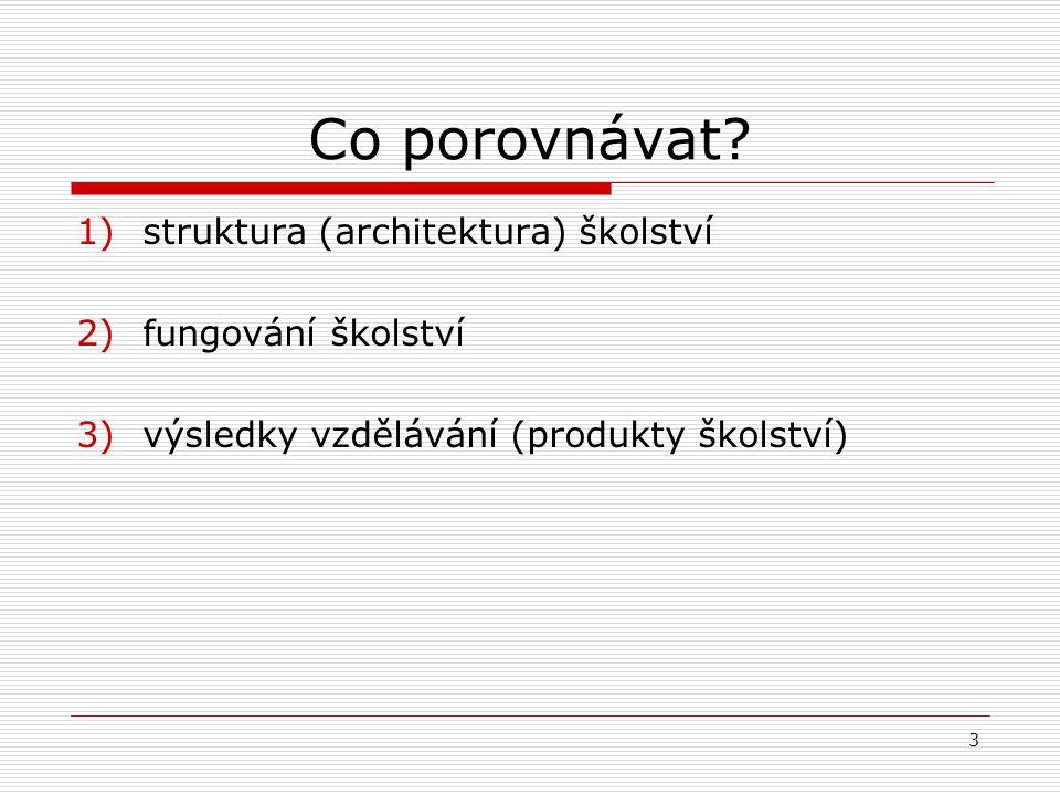 Co porovnávat struktura (architektura) školství fungování školství
