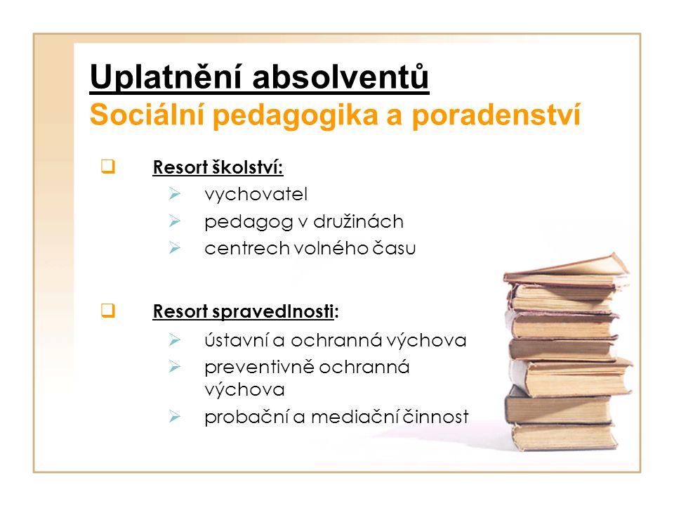Uplatnění absolventů Sociální pedagogika a poradenství