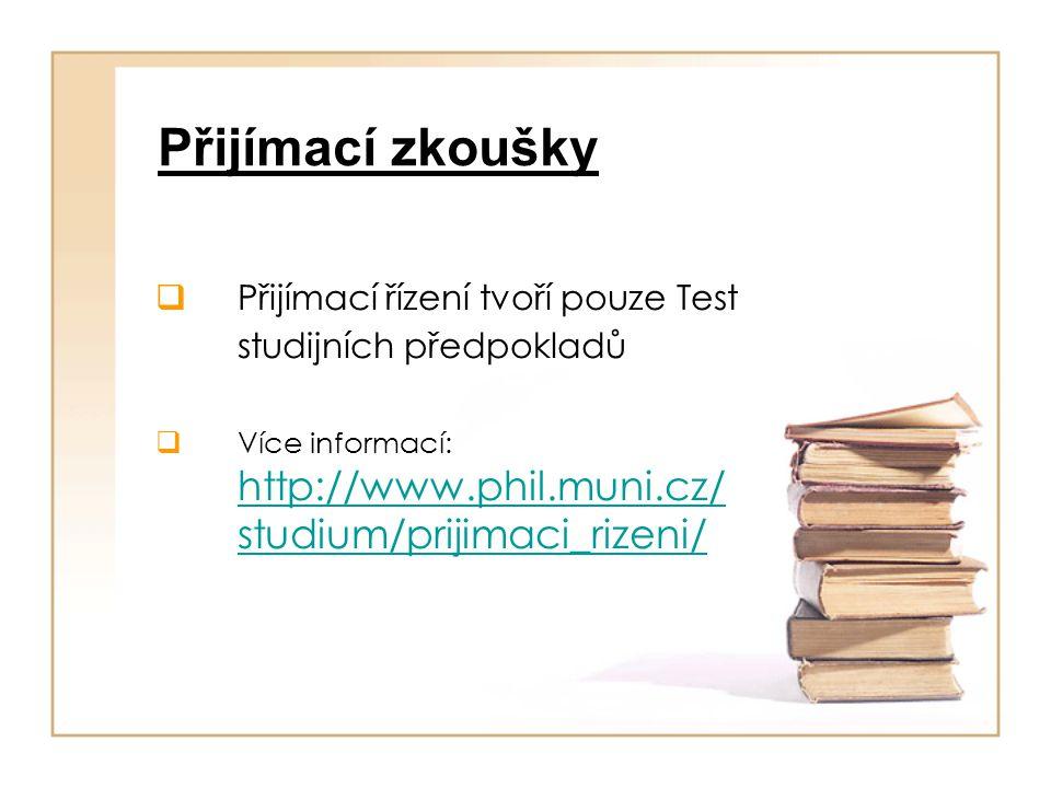 Přijímací zkoušky Přijímací řízení tvoří pouze Test studijních předpokladů.