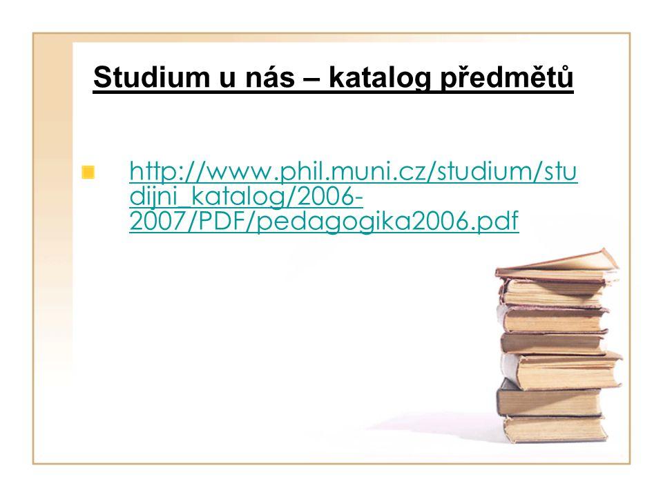 Studium u nás – katalog předmětů