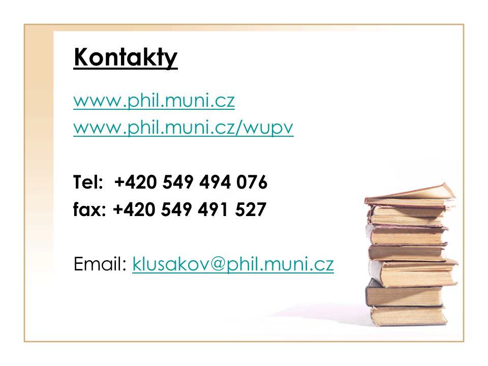 Kontakty www.phil.muni.cz www.phil.muni.cz/wupv Tel: +420 549 494 076