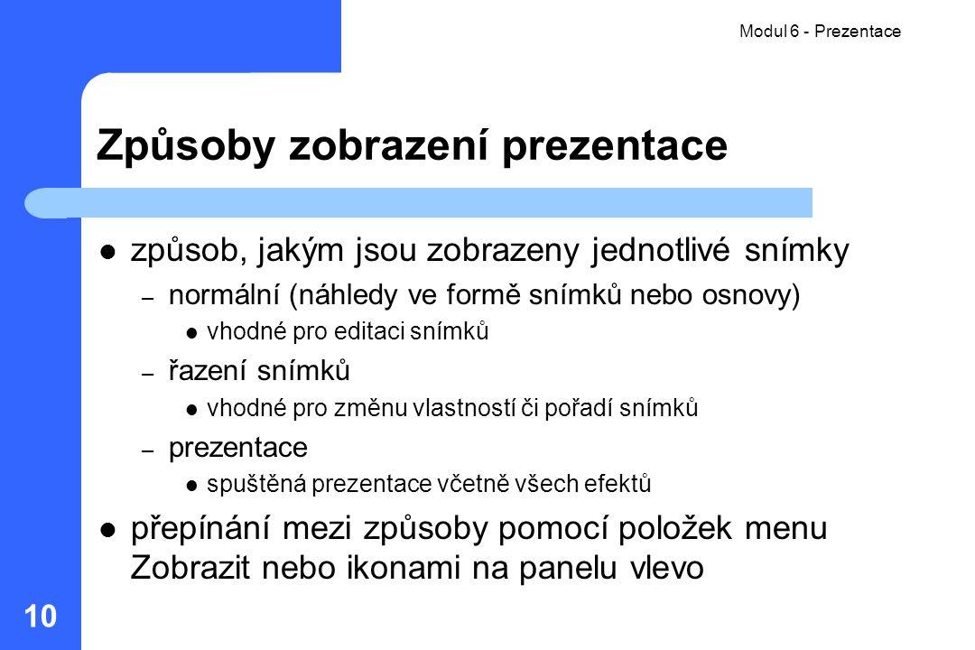 Způsoby zobrazení prezentace