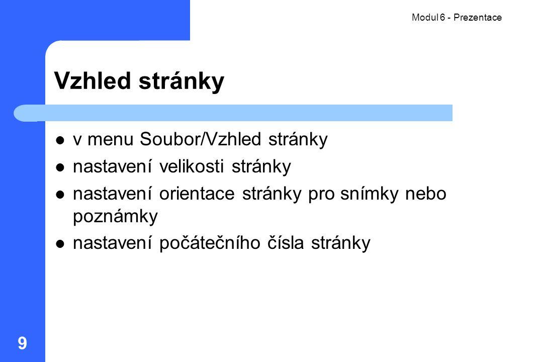 Vzhled stránky v menu Soubor/Vzhled stránky