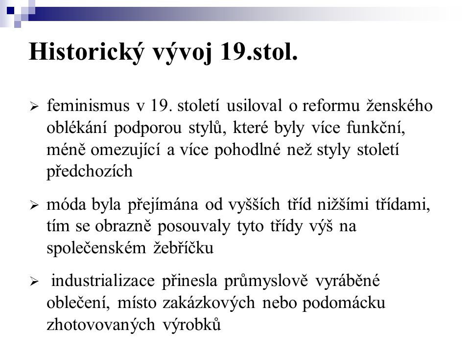 Historický vývoj 19.stol.