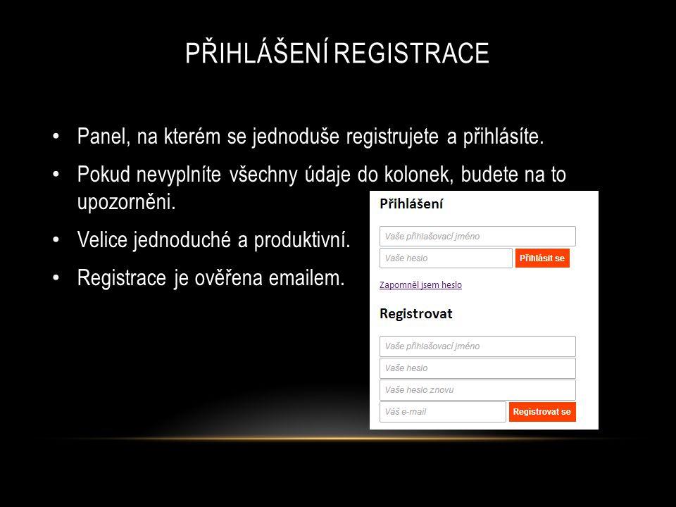 Přihlášení registrace