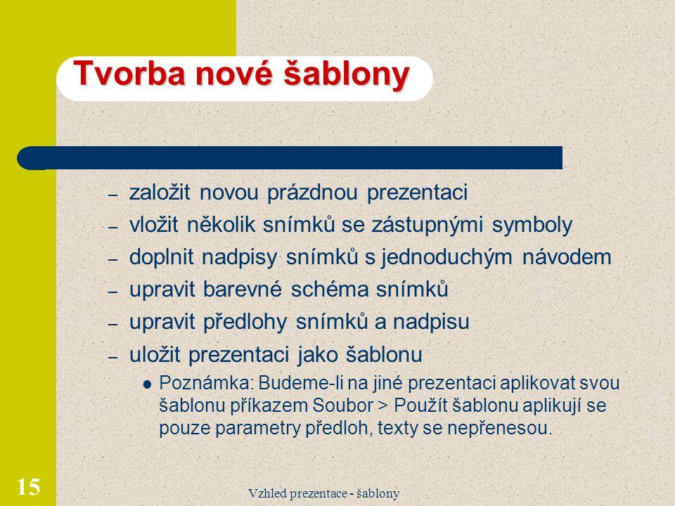 Vzhled prezentace - šablony
